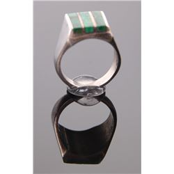 Malachite Mexican sterling silver ring.  Ring Size: 8.