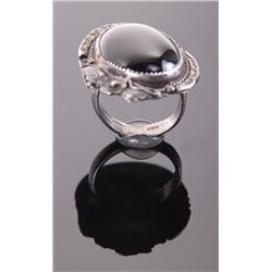 Mexican Black onyx sterling silver ring.  Ring Size: