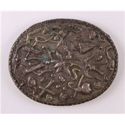 Stamped and Incised mirror with floral decoration.