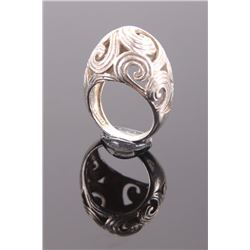 Swirl design sterling silver ring.  Ring Size: 6.5