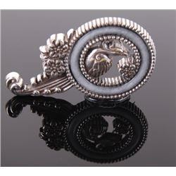 Peacock silver brooch with grey stone inlay, signed by