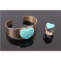 Set of turquoise heart shaped ring and bangle stamped