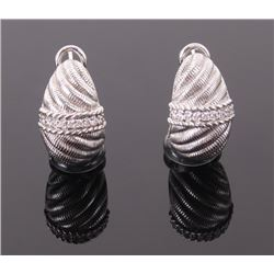 Judith Ripka sterling silver earrings with crystal