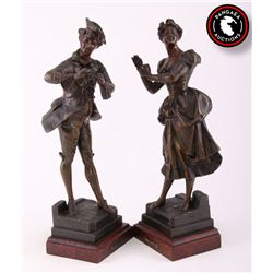 French (1863-1928), two patinated bronze figures,