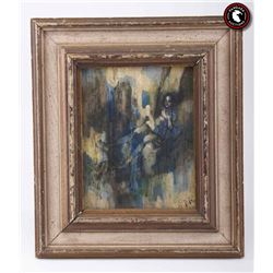 Original Expressionist acrylic painting in wood frame.