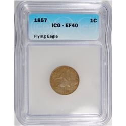 1857 FLYING EAGLE CENT ICG EF-40