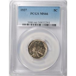 1937 BUFFALO NICKEL, PCGS MS-66