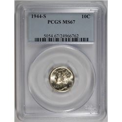 1944-S MERCURY DIME, PCGS MS-67