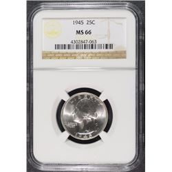 1945 WASHINGTON QUARTER, NGC MS-66