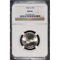 1946-S WASHINGTON QUARTER, NGC  MS-66  CHERRY