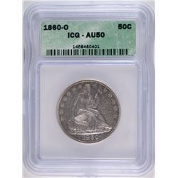 1860-O SEATED HALF DOLLAR ICG AU 50