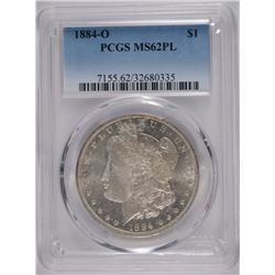 1884-O MORGAN DOLLAR PCGS MS62 PL