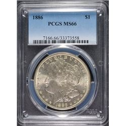 1886 MORGAN SILVER DOLLAR, PCGS MS-66  BLAST WHITE!