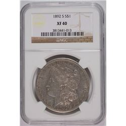 1892-S MORGAN DOLLAR NGC XF40  - KEY DATE