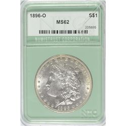 1896-O MORGAN SILVER DOLLAR, NTC  CHOICE BU  crack in the holder