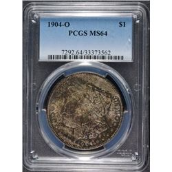 1904-O MORGAN SILVER DOLLAR, PCGS MS-64