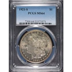 1921-S MORGAN SILVER DOLLAR, PCGS MS-64