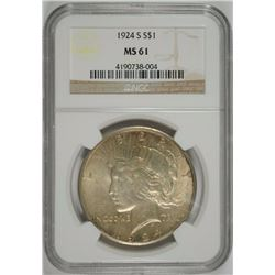 1924-S PEACE DOLLAR NGC MS-61