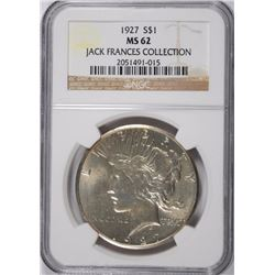 1927 PEACE SILVER DOLLAR, NGC MS-62