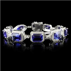 18K White Gold 24.60ct Tanzanite & 2.45ct Diamond