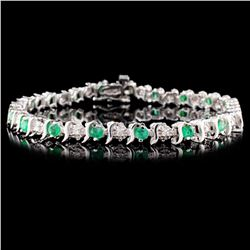 14K White Gold 1.80ct Emerald & 0.25ct Diamond Bra