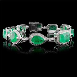 18K White Gold 18.94ct Emerald & 2.59ct Diamond Br