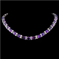14K Gold 61.00ctw Amethyst & 2.63ctw Diam Necklace