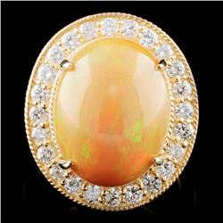 14K Gold 8.57ct Opal & 1.32ctw Diamond Ring