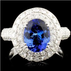 14K Gold 2.14ct Tanzanite & 1.71ctw Diamond Ring