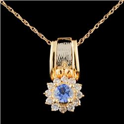 14K Gold 0.50ct Tanzanite & 0.38ctw Diamond Pendan