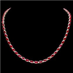 `14k Gold 28ct Ruby 1.20ct Diamond Necklace