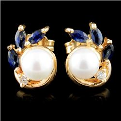 14K Gold Pearl & 0.05ct Diamond Earrings