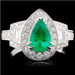 18K White Gold 0.94ct Emerald & 1.13ct Diamond Rin