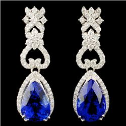 14K Gold 5.23ct Tanzanite & 2.26ctw Diamond Earrin