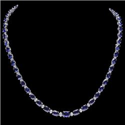 `14k Gold 29ct Sapphire 1.10ct Diamond Necklace