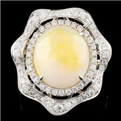 14K Gold 5.27ct Opal & 0.90ctw Diamond Ring