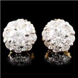 18K Gold 0.90ctw Diamond Earrings