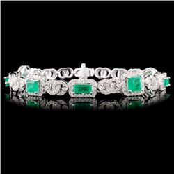 14K Gold 3.00ct Emerald & 1.73ctw Diamond Bracelet