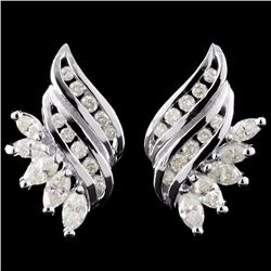 14K White Gold 1.76ctw Diamond Earrings