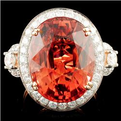 14K Rose Gold 16.14ct Tourmaline & 1.51ctw Diamond