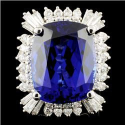 18K Gold 22.45ct Tanzanite & 1.98ctw Diamond Ring