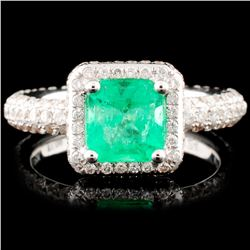 18K Gold 1.09ct Emerald & 1.24ctw Diamond Ring