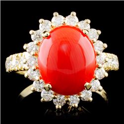 14K Gold 2.50ct Coral & 1.20ctw Diamond Ring