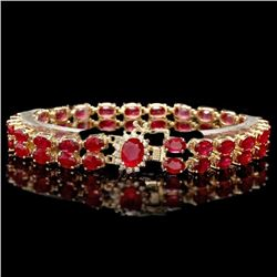 14k Yellow Gold 31ct Ruby 0.30ct Diamond Bracelet