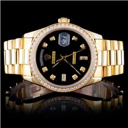 Rolex YG Day-Date 1.50ct Diamond Wristwatch