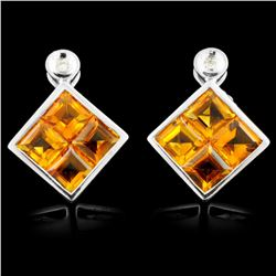 14K Gold 4.00ctw Citrine & 0.03ctw Diamond Earring