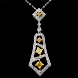 18K White Gold 1.15ctw Fancy Color Diamond Pendant