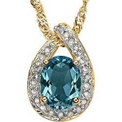 Stunning London Blue Topaz & Diamond Solid Gold Pendant