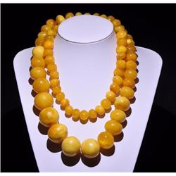 Antique Butterscotch Egg Yolk Amber Necklace 265 grams