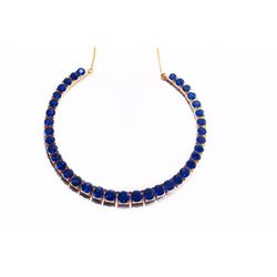 Natural Burma Sapphire & Solid Gold Necklace 58 ct- AGL